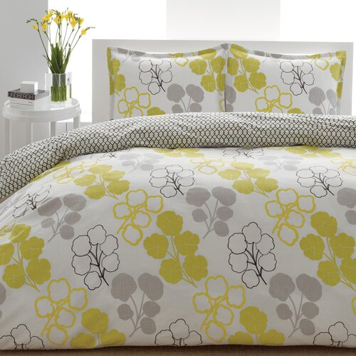 City Scene Pressed Flower Comforter Set