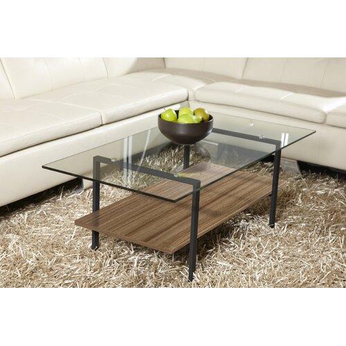 Jesper Office Modern Glass Coffee Table with Shelf