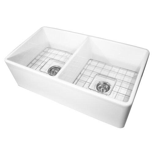 Nantucket Sinks 33 X 18 Double Bowl Farmhouse Kitchen Sink With G