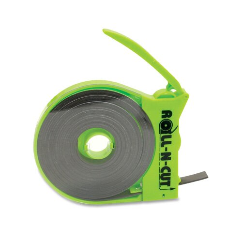 "Baumgartens Magnetic Tape,w/Dispenser, 1/2""x15', Black Tape/Green Disp."