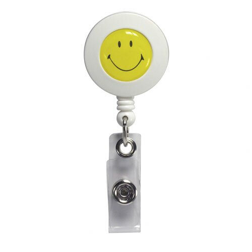Baumgartens ID Card Reel, Smiley Face, With Clip, Extends 30""