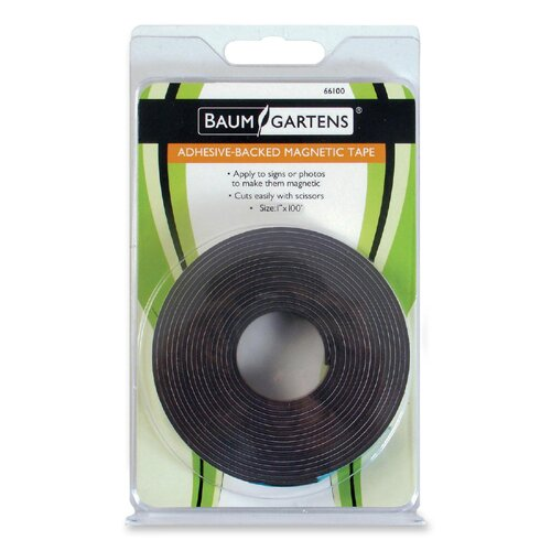 "Baumgartens Adhesive Magnetic Tape, Flexible, 1""x100', Black"
