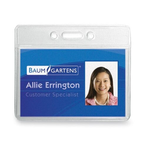 "Baumgartens Vinyl Badge Holder,No Clip,Horz,3-3/8""x2-3/8"",12/PK,Clear"