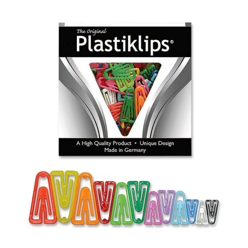 Baumgartens Plastic Paper Clips, Assorted Sizes, 315/BX, Assorted Colors