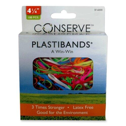 """Baumgartens PlastiBands, Size 4-1/4"""", 100/BX, Assorted Colors"""