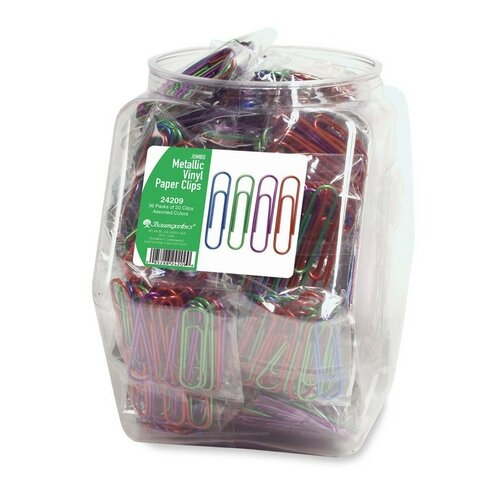 Baumgartens Paper Clips, Jumbo, Metallic/Vinyl Coated, 36 per Set, Assorted