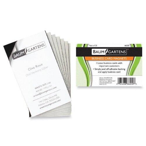 "Baumgartens Magnetic Business Card, Adhesive Back, 3-1/2""x2"", 25 per Pack, Black"