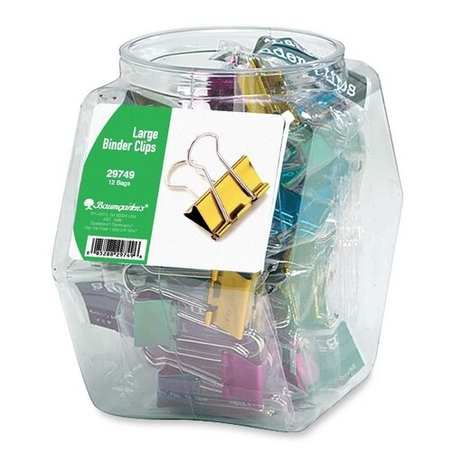 "Baumgartens Binder Clips, Large, 1-1/4"", Contemporary Metallic, 12 per Set, Assorted"