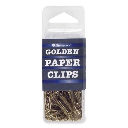"""Baumgartens Standard Paper Clips, 1"""", 100 per Pack, Gold"""