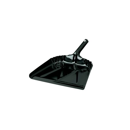 "Impact 12"" Heavy Duty Metal Dustpan 20 Gauge Steel in Black"