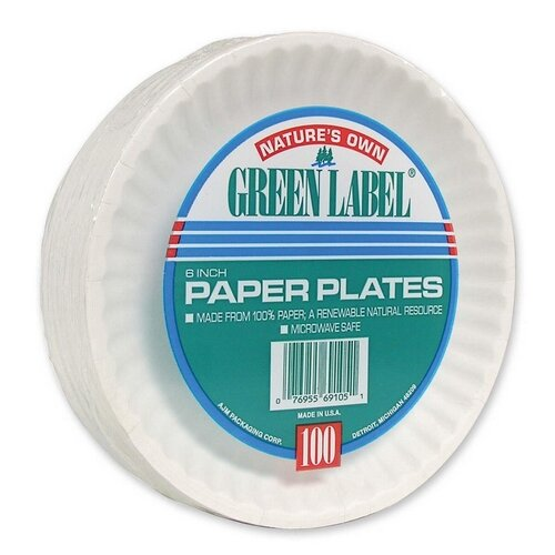 "AJM Packaging Corporation  (1000 Per Container) 6"" Paper Plates in White"