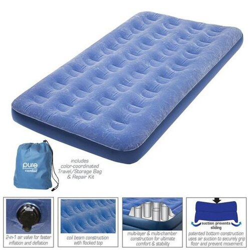 Pure Comfort Twin Low Profile Flock Top Air Bed