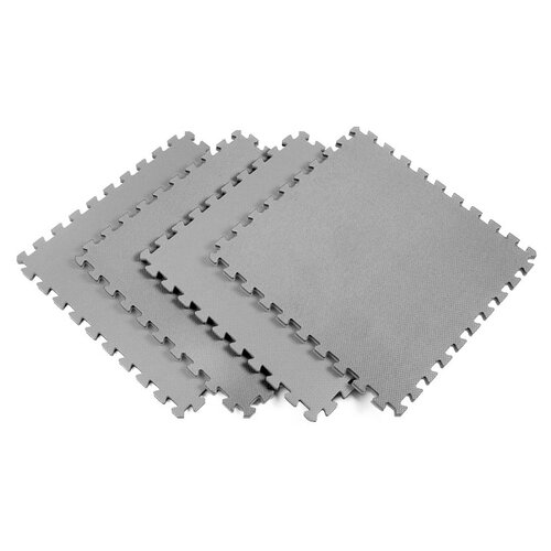 Norsk Floor Recyclamat Solid Color Foam Mats in Gray (Pack of 4)