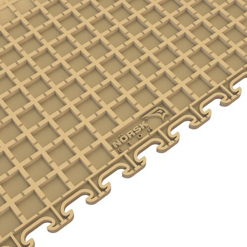 Norsk Floor Raised Coin Multi-Purpose PVC Floor Tile in Beige (Pack of 6)