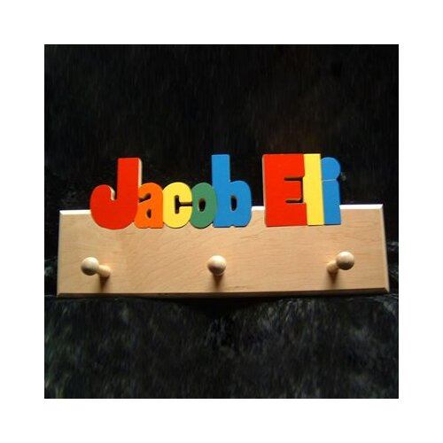 Hollow Woodworks Personalized Coat Rack with 12 Letters