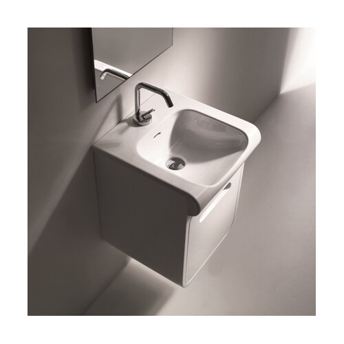 Inka Ceramic Bathroom Sink with Wall Mounted Cabinet