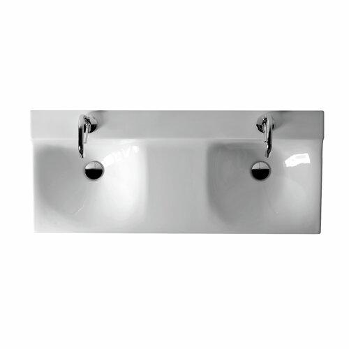 Buddy Ceramic Wall Mounted Double Bathroom Sink
