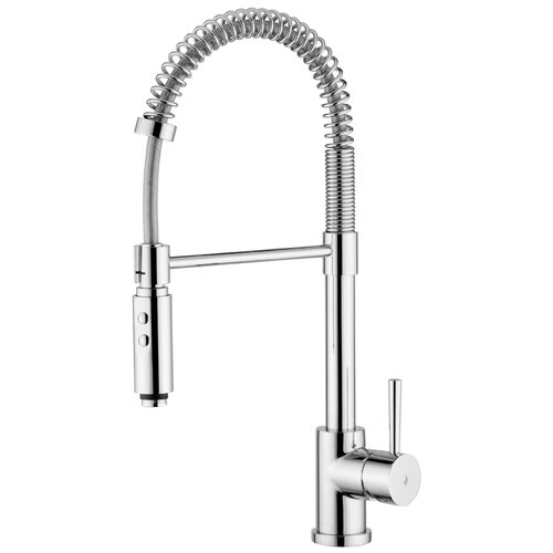 "WS Bath Collections Evo ""Professional"" One Handle Single Hole Bar Faucet with Two-Spray Hand Shower"