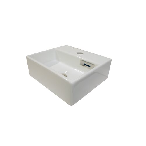 WS Bath Collections Linea Quadro Wall Mounted Vessel Bathroom Sink