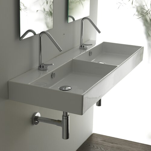 Ceramica II Unlimited Ceramic Rectangle Double Bathroom Sink
