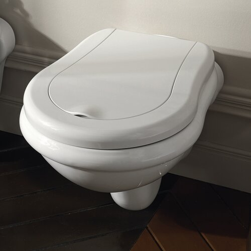 Kerasan Retro Wall Mount Elongated 1 Piece Toilet without Seat Cover