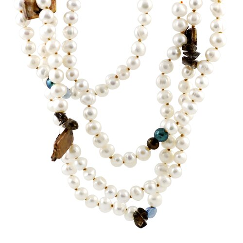 Skyline Silver Freshwater Cultured Pearls with Assorted Gemstones Necklace