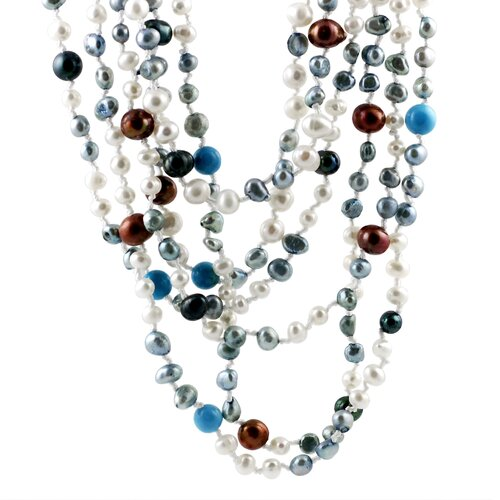 Skyline Silver Multi-colored Cultured Pearl Necklace with Turquoise