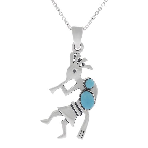 "Skyline Silver Sterling Silver 0.51"" Kokopelli with Turquoise Necklace"