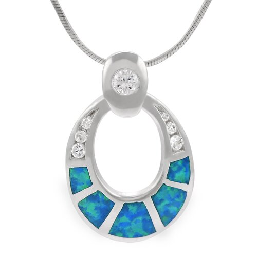 Skyline Silver Sterling Silver CZ and Blue Opal Oval Necklace