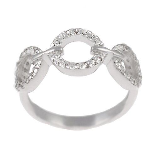 Sterling Silver CZ Accented 3 Circle Ring