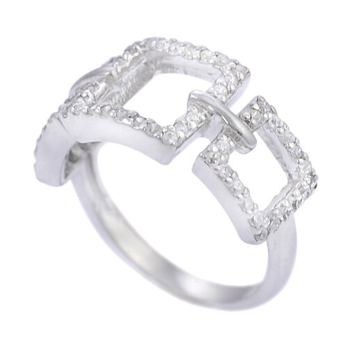 Skyline Silver Sterling Silver CZ Accented 3 Square Ring