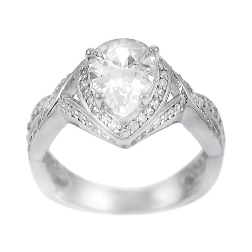 Sterling Silver Pear Cut CZ Accented Ring