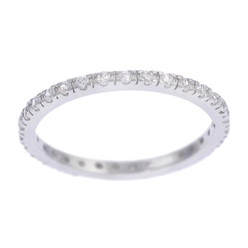 Sterling Silver CZ Accented Eternity Band Ring