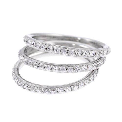 Sterling Silver CZ Accented Three Eternity Band Rings