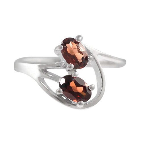 Skyline Silver Sterling Silver Two Stone Oval Garnet Ring