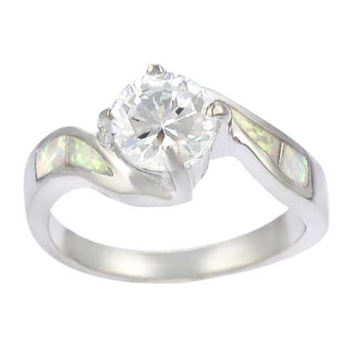 Sterling Silver and Round White Opal with CZ Center Ring