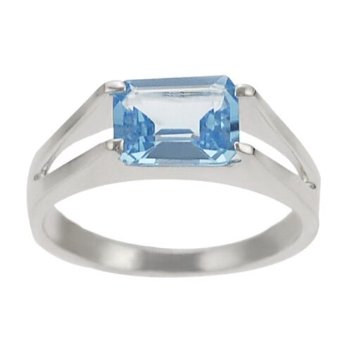 Sterling Silver Genuine Blue Topaz Rectangular Cut Ring