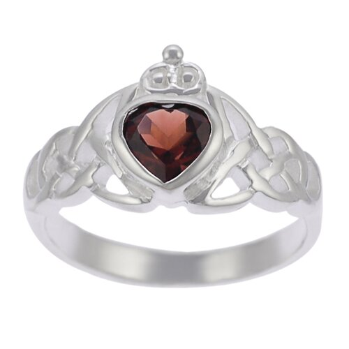 Sterling Silver Genuine Garnet Celtic Ring