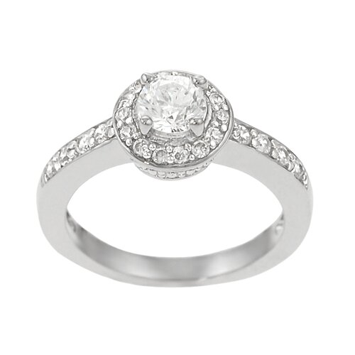 Sterling Silver Round Cut CZ Pave Ring
