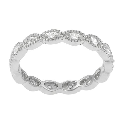 Sterling Silver CZ Accented Eternity Ring