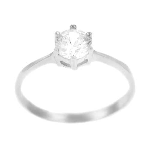 Sterling Silver Round Cut Clear CZ Solitaire Ring