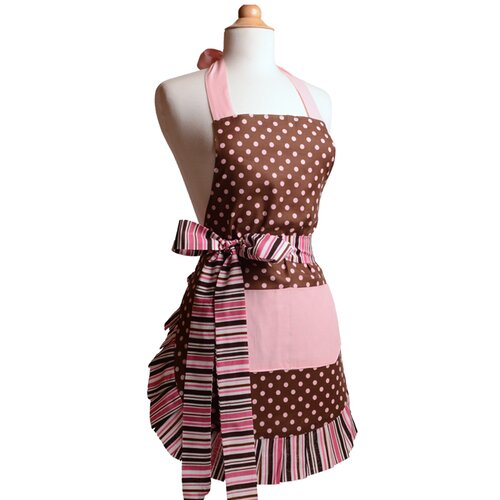 Flirty Aprons Women's Apron in Pink/Chocolate