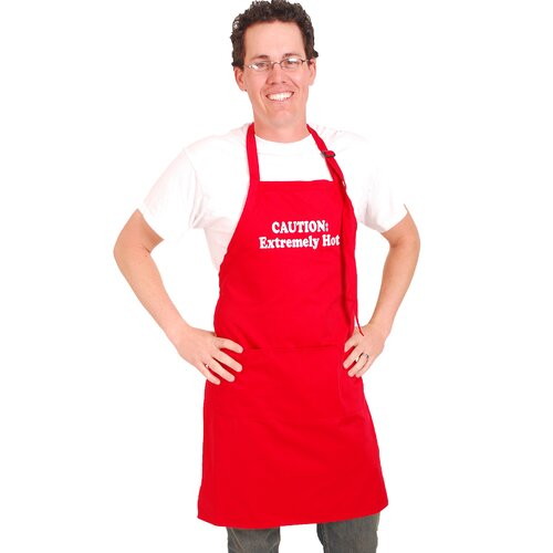 "Flirty Aprons Men's ""Caution Extremely Hot"" Apron in Red"