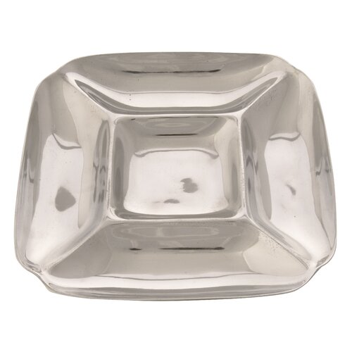 Ambiente Handmade Decorative Rehilete Small Snack Container in Bright Silver