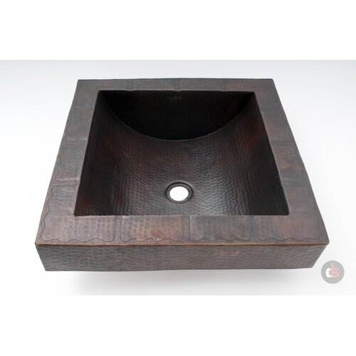 Ambiente Copper Handmade Square Apron Bathroom Sink