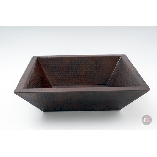Copper Handmade Bar Vessel Double Wall Rectangular Bathroom Sink