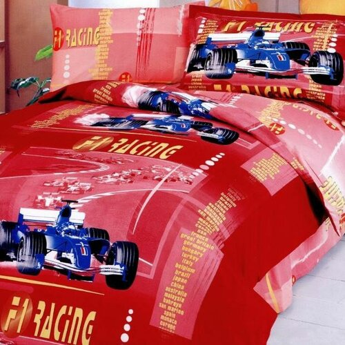 F1 4 Piece Twin Junior Duvet Cover Bedding Set in Red