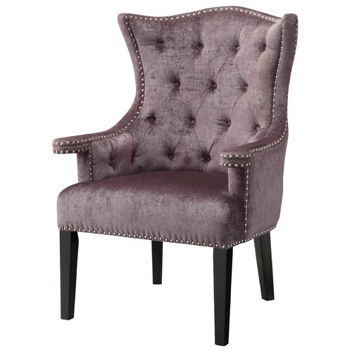 Fifth Avenue Eggplant Velvet Arm Chair with Nailhead Trim