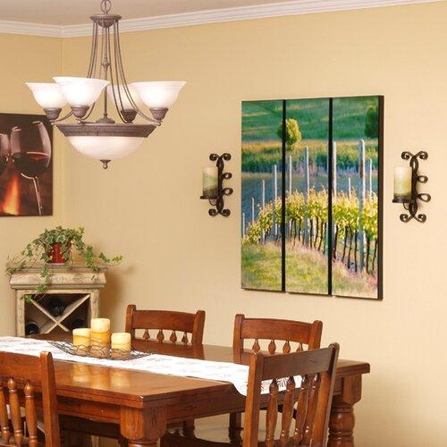 Wilson Studios Rows of Vineyard Grapes 3 Piece Framed Painting Print Set