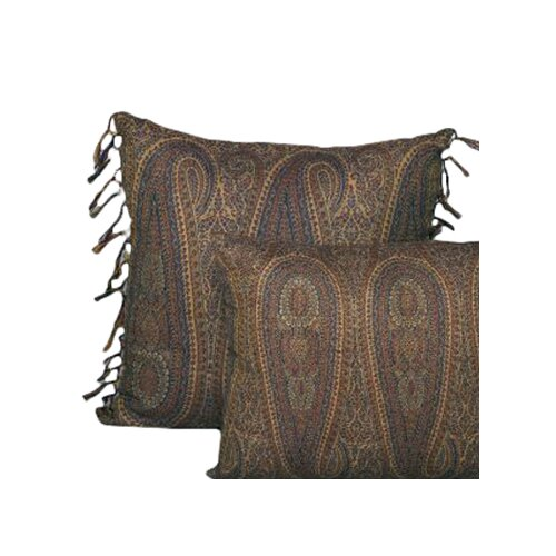 Belle Epoque Tear Drop Paisley Wool Toss Pillow with Hand Knotted Fringe